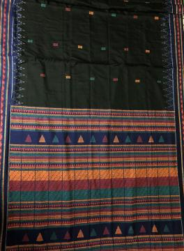 Black Body With Butis and multicolour Aanchal Cotton Dongria Saree without Blouse Piece