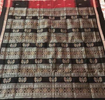 Traditional Peacock Motifs Bomkai Saree in Silk with Blouse Piece
