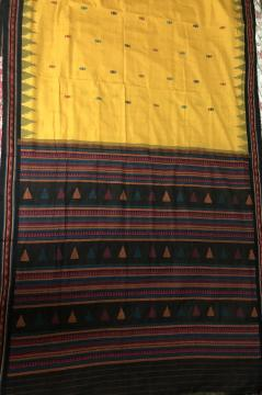 Yellow and Black Dongria Cotton Saree without Blouse Piece