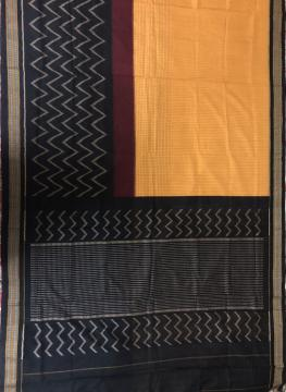 Geometric Pattern All Over Ikat Hand Woven Cotton Saree without Blouse Piece