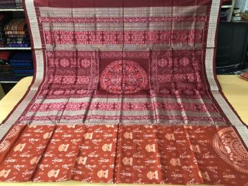 Exquisite Tribal motifs body elephant motifs aanchal Rust Maroon ikat Silk Saree with Blouse Piece