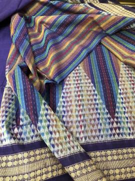 Rainbow Theme Geometric Pattern Fine Cotton Ikat Saree with Blouse Piece