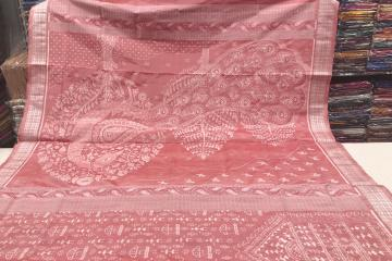 National Award Winner Weaver S Exclusive Peacock Motif Peach Color Ikat Silk Saree with Blouse