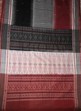Body Checks Ikat work with Bomkai Aanchal Cotton Saree with Blouse Piece