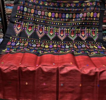 Exclusive Maroon Dolabedi Saree in Tassar with Blouse Piece