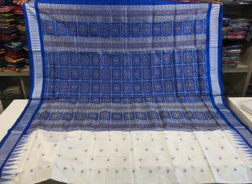 Traditional Bomkai White and Blue Combination Silk Saree with Blouse Piece