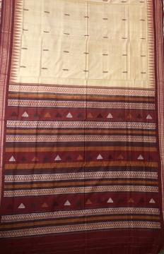 Beige and Maroon Cotton Bomkai Saree with Blouse