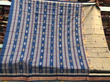 Siminoi Inspired Bomkai Weave Cotton Saree with Blouse Piece