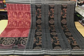 Exclusively Woven Master Weaver s Temple Theme Cotton Saree with Blouse Piece