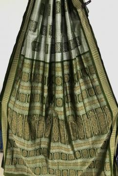 Body Stripes and Box Motifs Beautiful Bomkai Silk Saree with Blouse Piece