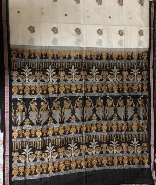 Exclusively Woven Marriage Theme Cotton Bomkai Saree with Blouse Piece
