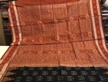 Exclusively woven Tribal Motifs Body With Pasapalli Border Ikat Silk Saree with Blouse Piece