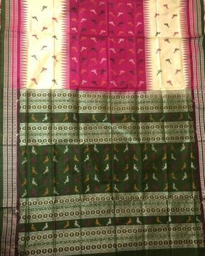 Exclusively Woven Bird Motifs Bomkai Silk Saree with Blouse pIece