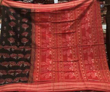 Exclusively Woven Rose Motifs Cotton Ikat Saree with Blouse Piece