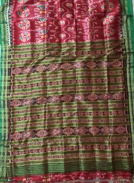 Red and Green Traditional Khandua Silk Saree without Blouse Piece