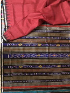 Double Aanchal Phoda Kumbha Border Berhampuri Silk Saree with Blouse Piece
