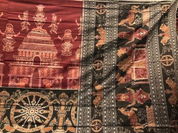 Temple and dancer Motifs Cotton ikat Saree with Blouse Piece
