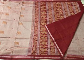 Exquisite Intricately Woven Master weaver s Cotton Bomkai Saree with Blouse Piece
