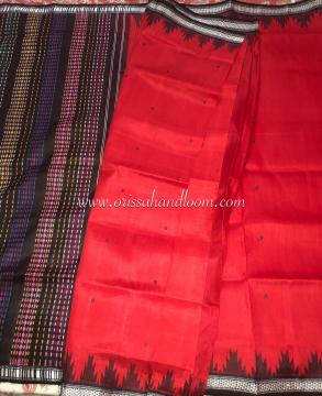 Exclusively Woven Double Aanchal Phoda Kumbha Border Berhampuri Silk Saree with Blouse Piece