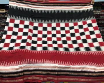 Black White Red boxes Multicolour Borders Cotton Bomkai Ikat Saree with Blouse piece