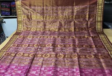 Tribal And Traditional motifs Ikkat weave Tissue Silk Saree with Blouse Piece