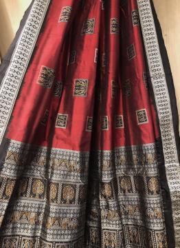 Intricately Woven Tribal Tress Elephant Motifs Bomkai Silk Saree with Blouse Piece