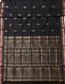 Exclusively Woven Tribal Motifs Tissue Aanchal Border and Butis Cotton Bomkai Saree with Blouse Piec