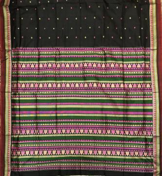 Black Dongria Silk Saree with Blouse Piece