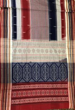 Multicolour Checks Cotton Bomkai Saree with Blouse Pice
