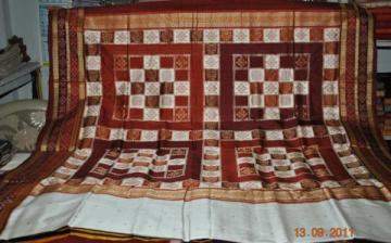 Odishi Handloom Pasapalli border and Aanchal  White Saree