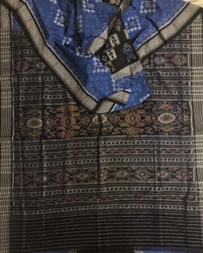 Checks Border Pasapalli and fish Motifs Body Ikat Cotton Saree without Blouse Piece