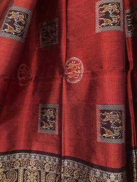 Box Pattern Tribal and Traditional Motifs Maroon and Dark Brown Bomkai Silk Saree