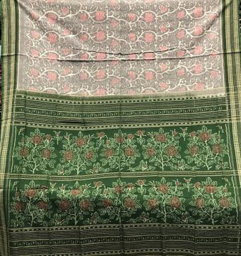 Intricately Woven Flower Motifs Grey and Green Cotton Ikat Saree with Blouse Piece
