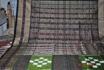 Orissa Handloom Vichitrapuri Traditional Green-Black  Saree