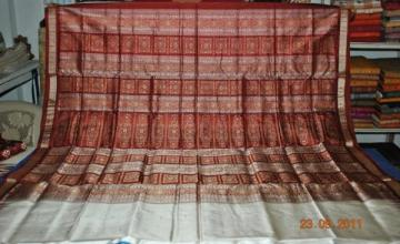 Orissa Handloom Bomkai Saree Sari in White