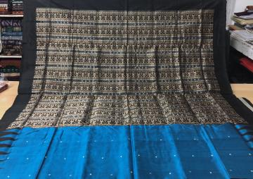 Temple Border Tribal Motifs Aanchal Bomkai Silk Saree with Blouse Piece