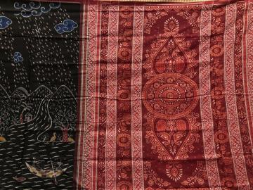Master Weaver S Rain and Scenic Beauty Theme Cotton Ikat Saree with Blouse Piece