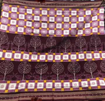 Intricately woven Animals Trees motif with Pasapalli Patterns Cotton Saree with Blouse Piece