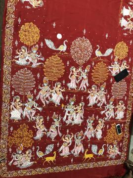 Radha Krishna with Gopis Pattachitra Hand Painted Silk Saree with Blouse Piece