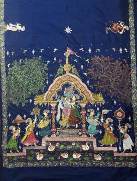 Radha Krishna Pattachitra Hand Painting Silk Saree with Blouse Piece