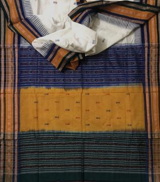 Fish Motifs Kathiphera Sambalpri Cotton Saree with Blouse Piece