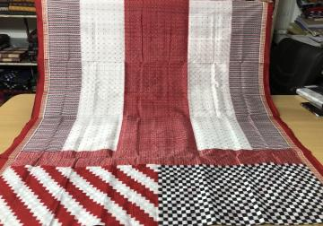 Exclusively Woven White Black and Red Boxes all over Geometric Patterns Ikat Silk Saree with Blouse