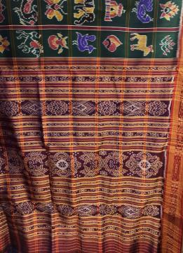 Traditional Green Nabakothi Khandua Silk Saree without Blouse Piece