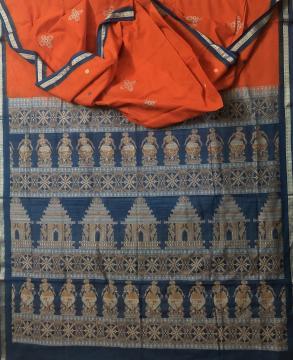 Exclusively Woven Temple theme Cotton Bomkai Saree with Blouse Piece