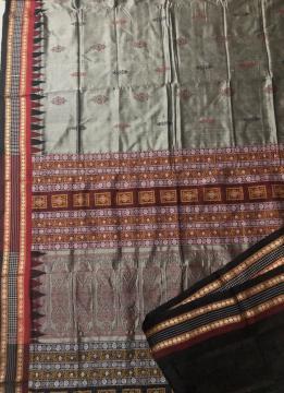 Checks Rudraksh and Temple Border Traditional Bapta Cotton Silk Bomkai Saree with Blouse Piece