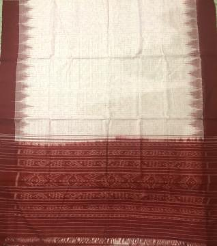 White and Red Traditional Ikat Cotton Saree without Blouse Piece