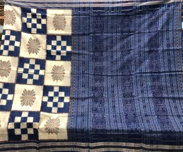 White and Blue Combination Ikat Motifs and Pasapalli work Cotton Saree without Blouse Piece