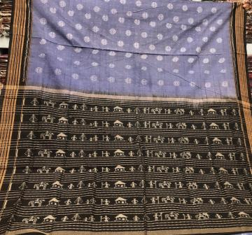 Simple and Elegant Tribal Motifs Aanchal Cotton Ikat Saree