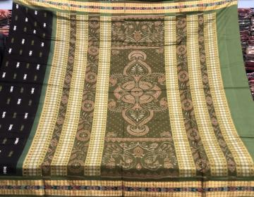 Peacock and fish motifs Black Green Cotton Ikat Saree with Blouse Piece