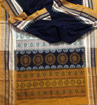 Multicolour Border Chakra Motifs Aanchal Cotton Bomkai Saree with Blouse Piece